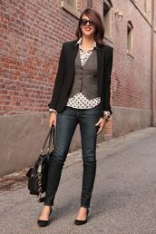 jacket,polka dot shirt,grey vest,black blazer,black skinny jeans,blogger,sunglasses