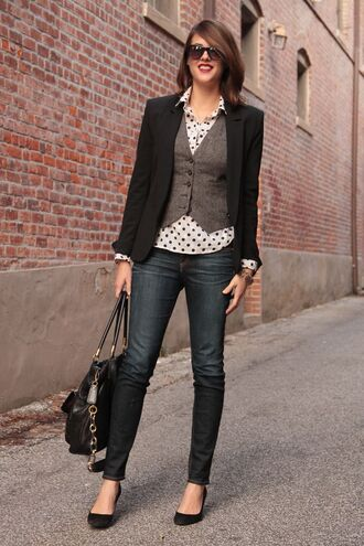 jacket polka dot shirt grey vest black blazer black skinny jeans blogger sunglasses