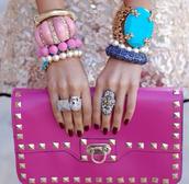bag,pink,clutch,studs,pink bag,studded bag,gold