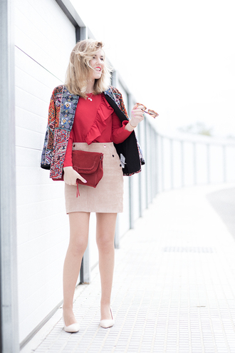 mi aventura con la moda blogger blouse skirt jacket shoes bag red blouse beige skirt pumps spring outfits