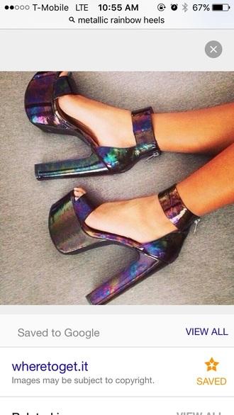 shoes metallic heels heels high heels platform shoes platform heels petrol holographic multicolor open toes