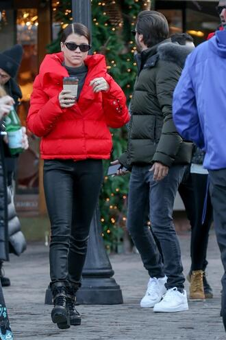 jacket winter outfits winter jacket red jacket sofia richie model off-duty streetstyle top turtleneck