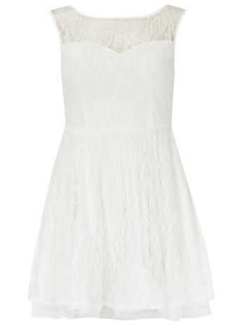Cream lace pleat prom dress