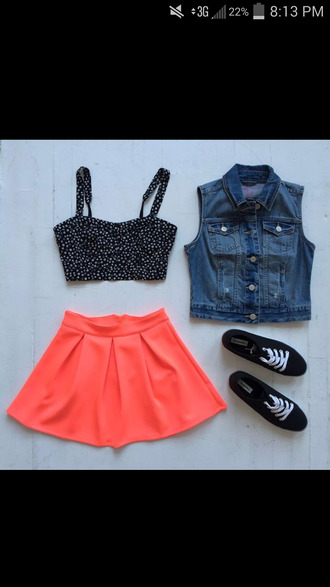 shoes tank top jacket skirt skater skirt neon orange pleated skirt