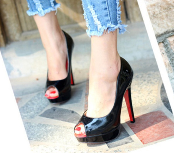 shoes high heels red bottoms black heels stilettos chic open toe peep toe red bottom high heels designer style black
