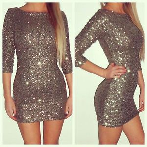 New Boutique Gold 3 4 Sleeve Sequin Body Con Mini Dress 8 10 12 14 | eBay