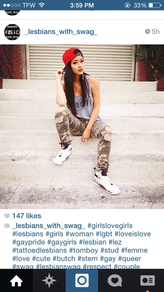 clothes camo pants jordans snapback shoes tank top