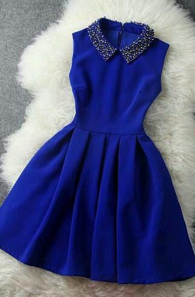 peter pan collar blue dress pearl