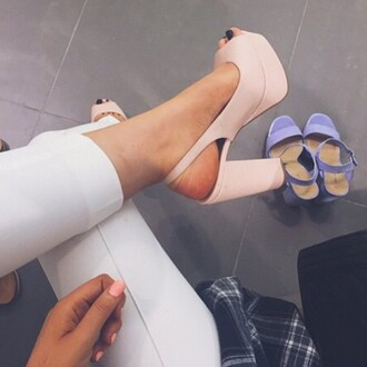 shoes heels block heels pink powder pink open toes peep toe heels summer sandals sandal heels high heel sandals