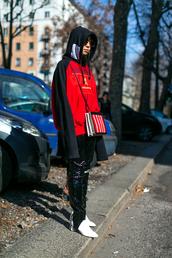 top,tumblr,milan fashion week 2017,fashion week 2017,fashion week,streetstyle,red top,hoodie,boots,white boots,mid heel boots,pants,black pants,stirrup pants,black leather pants,leather pants,black vinyl pants,vinyl,bag,printed bag