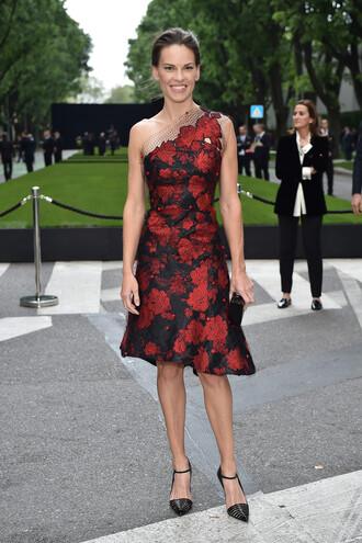 dress one shoulder prom dress hilary swank pumps floral asymmetrical