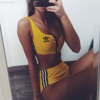 top adidas yellow sports bra