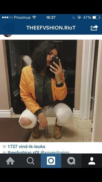 jacket bomber jacket green olive green orange fall jacket fall outfits
