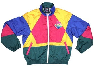 retro 90s style jacket old school colorful windbreaker