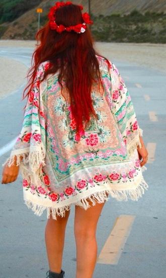 cardigan kimon japanese chinese asia tumblr hippie boho hipster kimono jacket tassel top