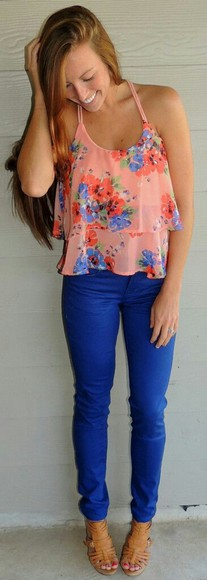 shirt peach blue flowers floral orange layers