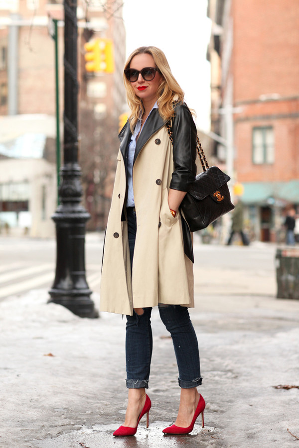 brooklyn blonde coat jeans shoes jewels bag