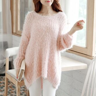 sweater cozy oversized sweater knitted sweater knitwear korean fashion korean style fall outfits white cozy sweater winter sweater winter outfits rose wholesale warm hipster pink girly girl girly wishlist