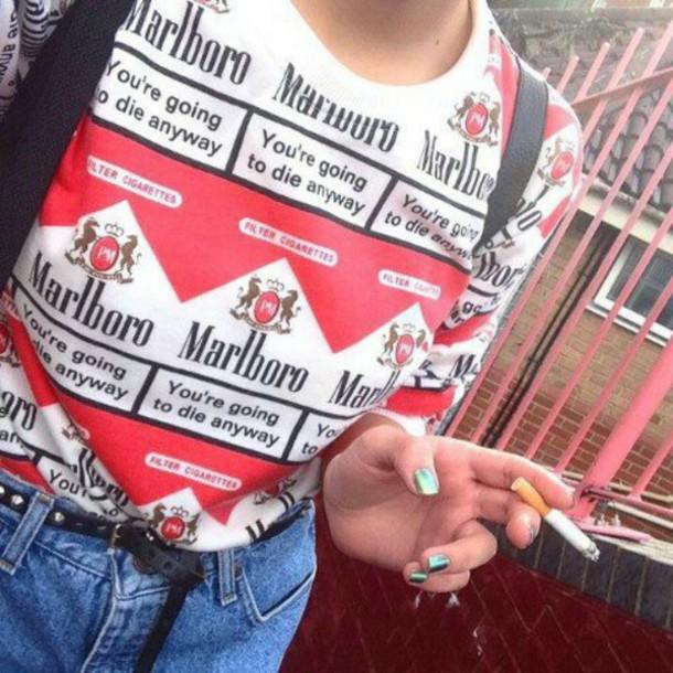 sweater marlboro cigarette red shirt blouse white grunge tumblr 90s style top