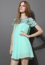 dress,beaded,embellished,chiffon,mint,green