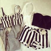 shorts,stripped shirt,black and white stripped shorts,bag,tank top,crop tops,pants,shirt,romper