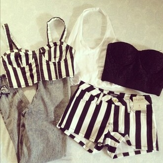 shorts stripped shirt black and white stripped shorts bag tank top crop tops pants shirt romper