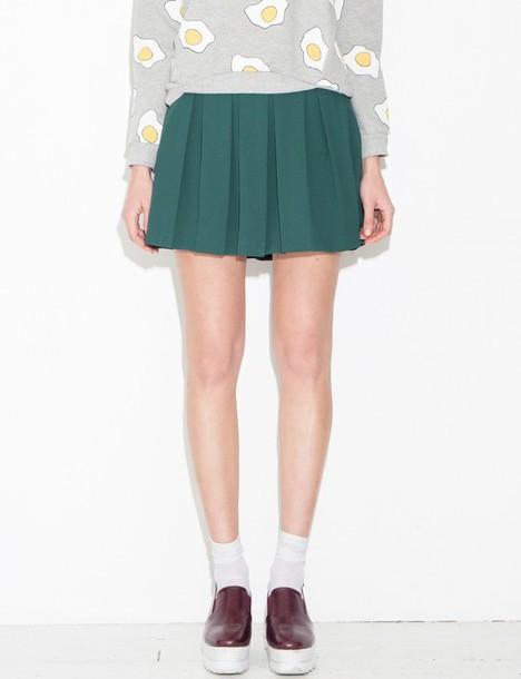 c1816302cc88 skirt, tennis skirt, green skirt, cute skirt, pleated skirt, mini ...