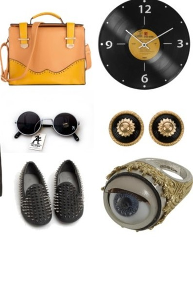 black sunnies bag handbag ring earrings clock eyes flats studs 90s record