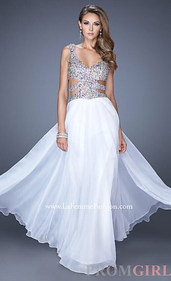 dress white dress rhinestones
