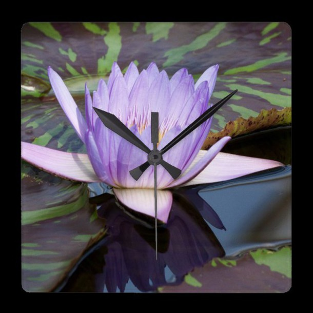 home accessory zazzle lotus flowers asia water clock gift ideas love macro blue symbol