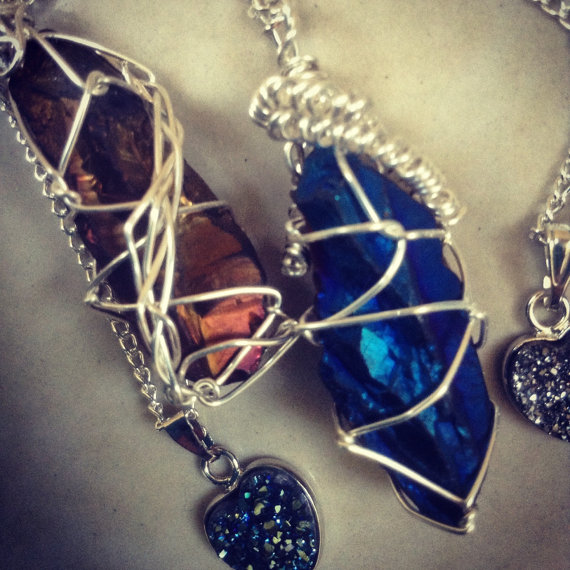 Reversible blue/orange titanium quartz wand/point wire wrap necklace