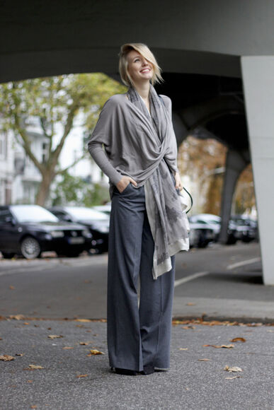 blogger bag fall outfits scarf ohh couture flare tailoring draped