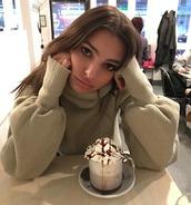 sweater,turtleneck,turtleneck sweater,emily ratajkowski,instagram,model off-duty