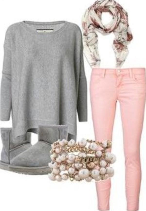 jeans jewels sweater scarf
