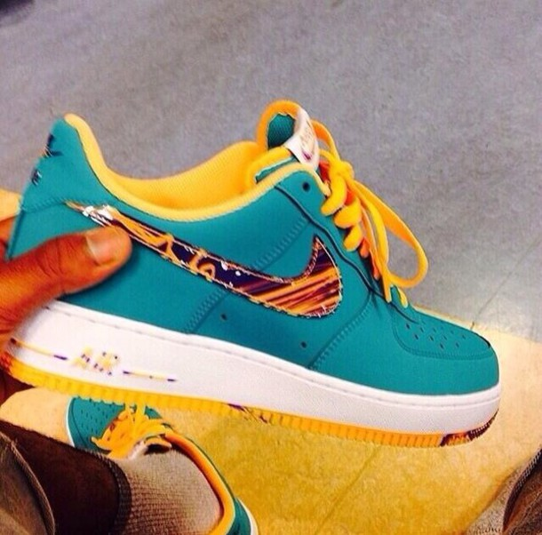 best cheap 4eb30 48a25 shoes nike air force 1 blue and orange