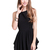 Black Sleeveless Asymmetrical Pleated Flare Dress - Sheinside.com