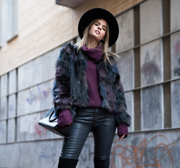 ms treinta blogger coat sweater jeans shoes hat bag faux fur coat turtleneck sweater winter outfits over the knee boots