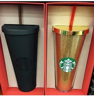 mug starbucks coffee gold travel mug matte black