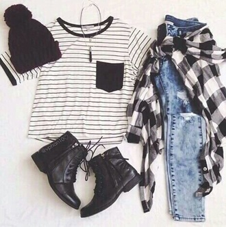 shirt black white stripes grunge hipster soft grunge tumblr flannel shirt jeans black combat boots choker necklace american apparel black and white beanie