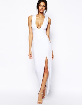 ASOS Deep Plunge Split Maxi at asos.com