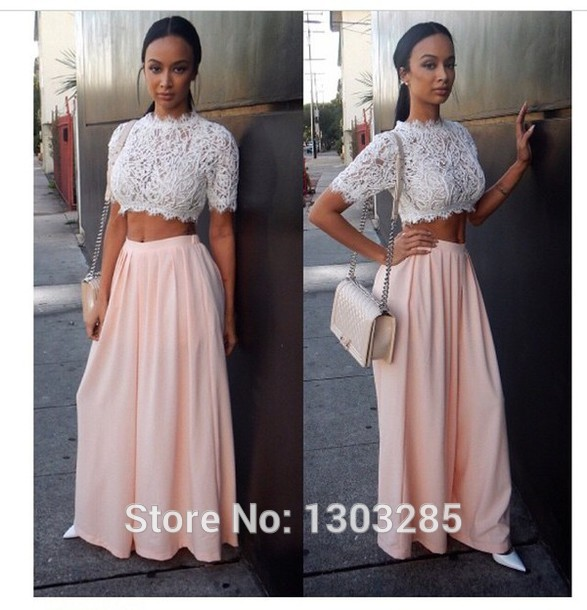Aliexpress.com : buy sexy o neck lace top a line natural waist crop top floor length chiffon two piece dress for prom dresses robe de soiree from reliable lace strapless dress suppliers on sexybridalqueen