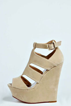 Charlotte Suedette Cut Out Wedges at boohoo.com