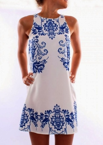 dress women blue and white floral teacup