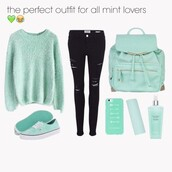 bag,mint green leather backpack.,phone cover,sweater,jeans,black jeans,ripped jeans,skinny jeans,skinny pants,black high waisted pants,mint,mint backpack,mint bag,underwear,cardigan,turquoise,pretty,comfy,pants,top,blouse,cute,short shorts,pink