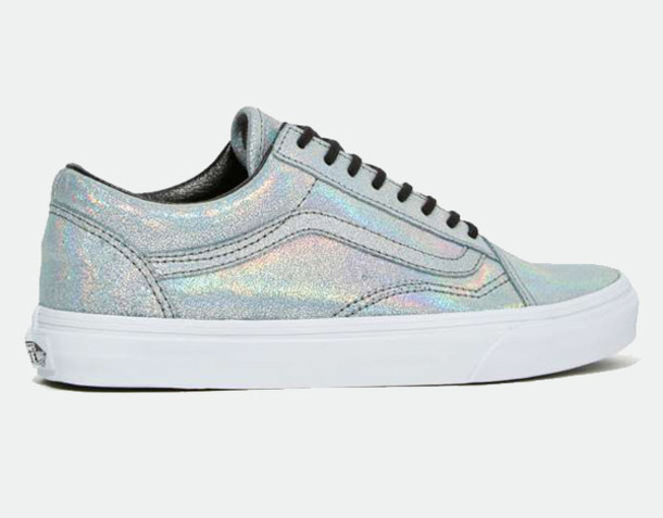 shoes, vans, iridescent, holographic shoes, silver sneakers