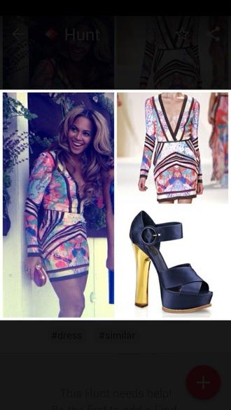 dress beyoncé beyonce dress colorful dress colorful print long sleeve dress