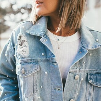 jacket denim jacket pearl jacket pearl denim jeans winter outfits girly grunge