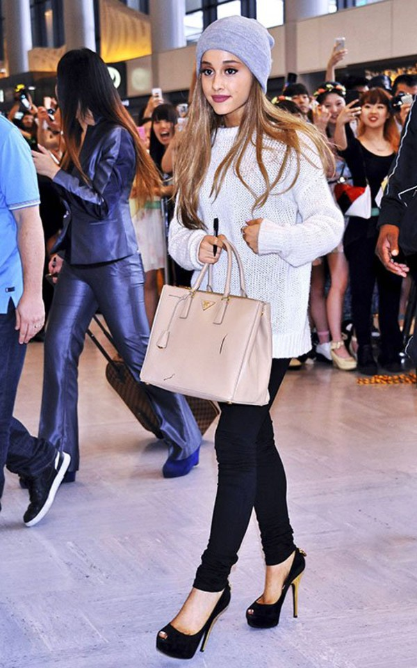 pants ariana grande shoes hat sweater bag high heels tote bag blouse ! ariana grande !