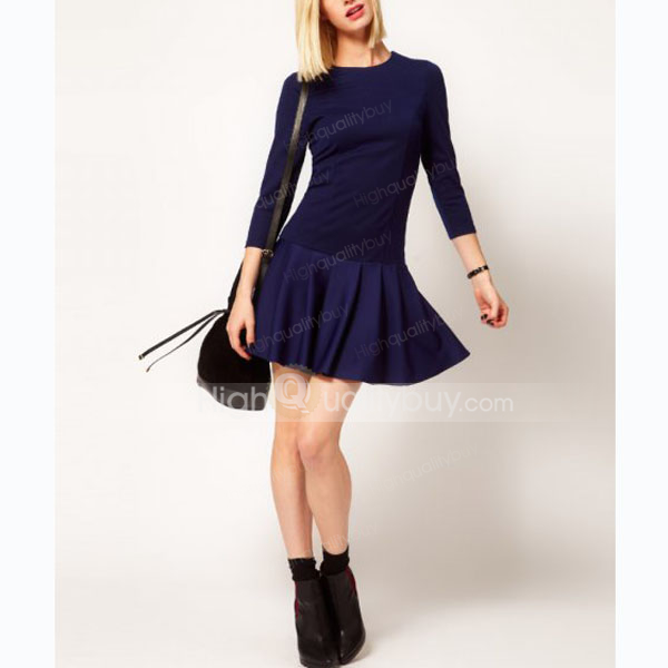 Fashion Splicing Button Back Design Skater Dress For Women_21.22