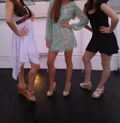 dress,turquoise,beige,short,long sleeve dress,see through dress